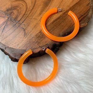 Neon Orange Acrylic Hoops Earrings